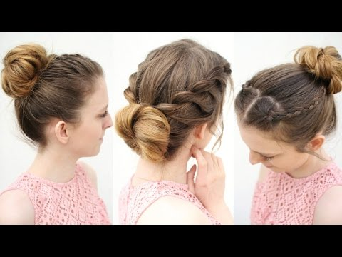 3 Easy Everyday Bun Hairstyles | Work Hairstyle ideas | Braidsandstyles12