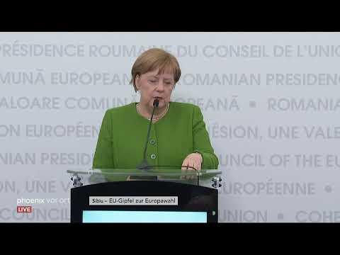 Pressekonferenz von Angela Merkel auf dem EU-Gipfel in Sibiu