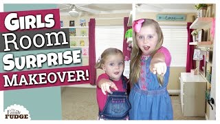 SURPRISE BEDROOM MAKEOVER & REACTION || Little Girls Bedroom Organization & Decor
