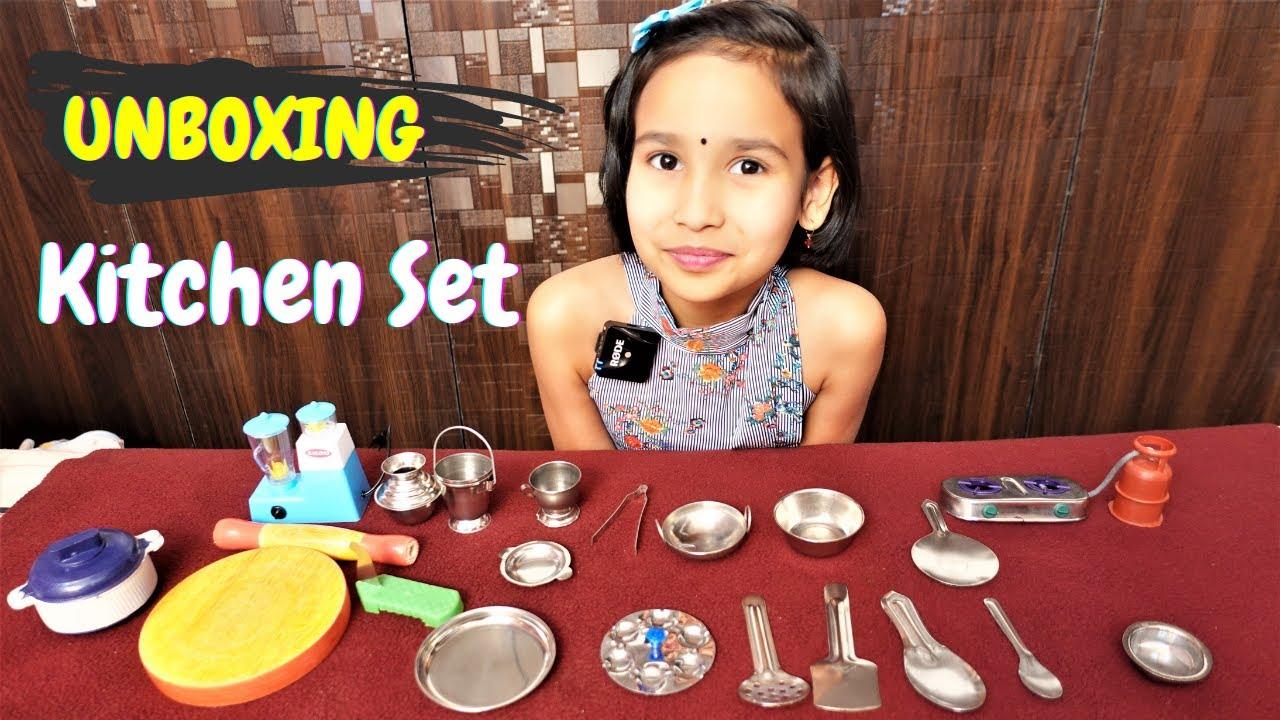 MaMuShop Mini Stainless Steel, Plastic and Wood Kitchen Set / UNBOXING / #LearnWithPari #Aadyansh