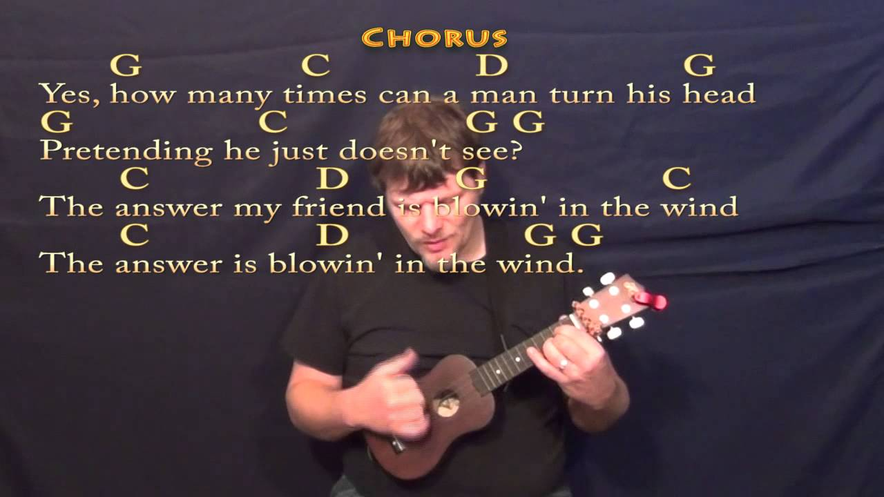 Blowin In The Wind Ukulele Cover In G With Chordslyrics Youtube