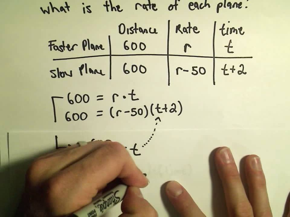 Solving Word Problems In Distance Rate And Time Using Quadratics