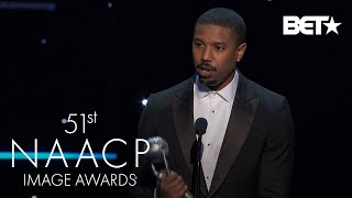 """Michael B. Jordan Wins Outstanding Actor In A Motion Picture For """"Just Mercy""""   NAACP Image Awards"""