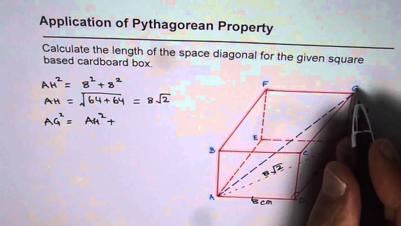 Pythagorean Application To Calculate Space Diagonal In Rectangular Prism