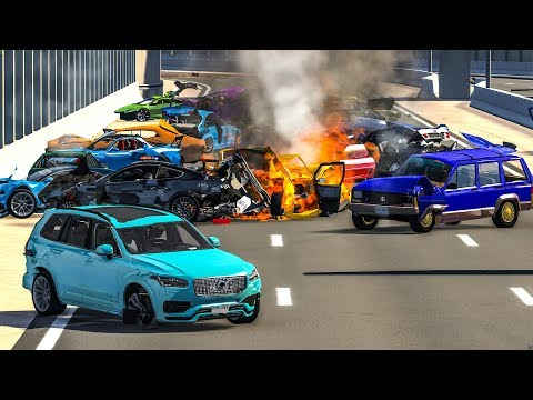 MASSIVE SPIKE STRIP PILE UP CRASHES #1 - BeamNG Drive | CRASHdriven