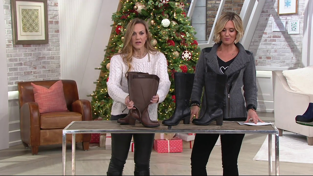 4007e639984 Earth Leather Tall Shaft Block Heel Boots - Miles on QVC - YouTube