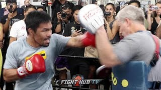 MOTIVATED MANNY PACQUIAO SHOWS HE STILL HAS INSANE SPEED & POWER IN WORKOUT FOR KEITH THURMAN FIGHT