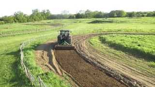 Tractor power harrowing Wilberfoss MX track York UK