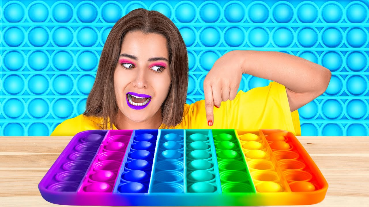 100 LAYERS OF POP IT || Funny Color Pop It, Food And DIY Ideas By 123 GO! GOLD