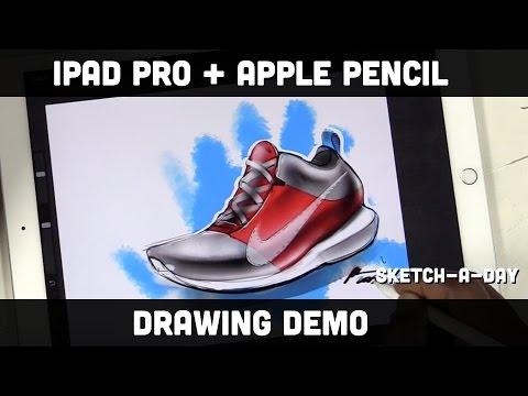 iPad Pro Shoe Sketch using Apple Pencil and Pro Create