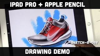 iPad Pro Shoe Sketch using Apple Pencil and Pro Create