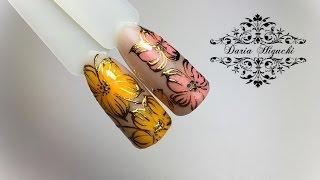 Дизайн ногтей!!! Цветы с литьем!!!