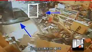 CCTV Footage Of Car Crashes In Restaurant