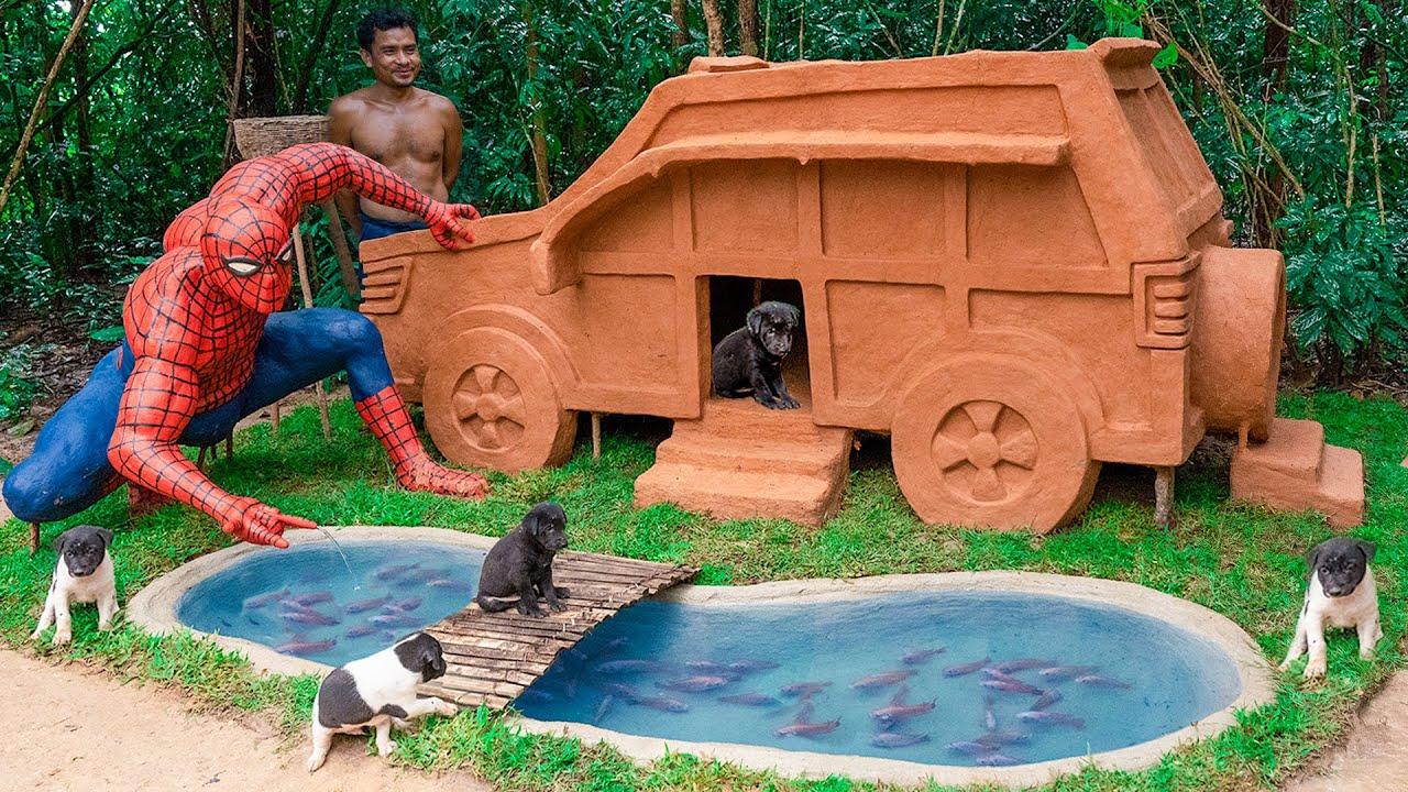 Build Spider-Man Fish Pond Around Mud Dog House For Red Fish