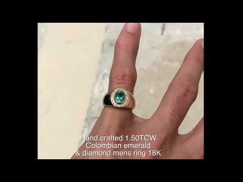 Hand Crafted  1.50 Carat Colombian Emerald Oval And Diamond Signat Mens Ring 18K
