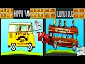 Hill Climb Racing 1 - Fully Upgraded Hippie Van vs Tourist Bus New Compilation 2017