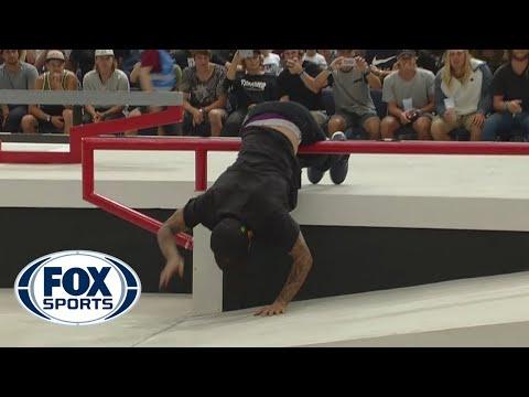 Nyjah Huston attempts tough trick, falls on rail - SLS Munich