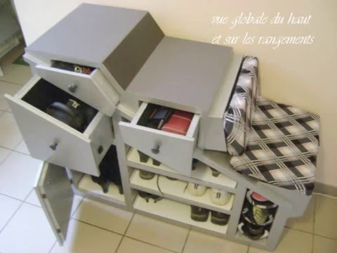 meuble carton mobilier d 39 entr e effet m tal youtube. Black Bedroom Furniture Sets. Home Design Ideas