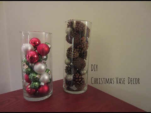 Diy Christmas Vase Decor Youtube