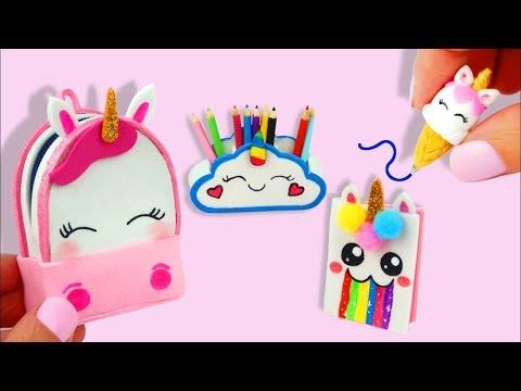 Сделай сам миниатюрный единорог школьные принадлежности рюкзак, мороженое ручка, пенал