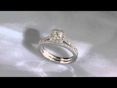 Roxi. White Gold Diamond Halo Engagement Ring 3/4ct. T.W.