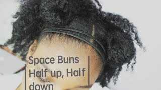 NATURAL HAIR | Styling old braidouts- Space Buns