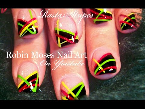 #inspiredbyrobinmoses #nailart #robinmoseswizards - Nail Art Tutorial EASY Diagonal Stripes - YouTube