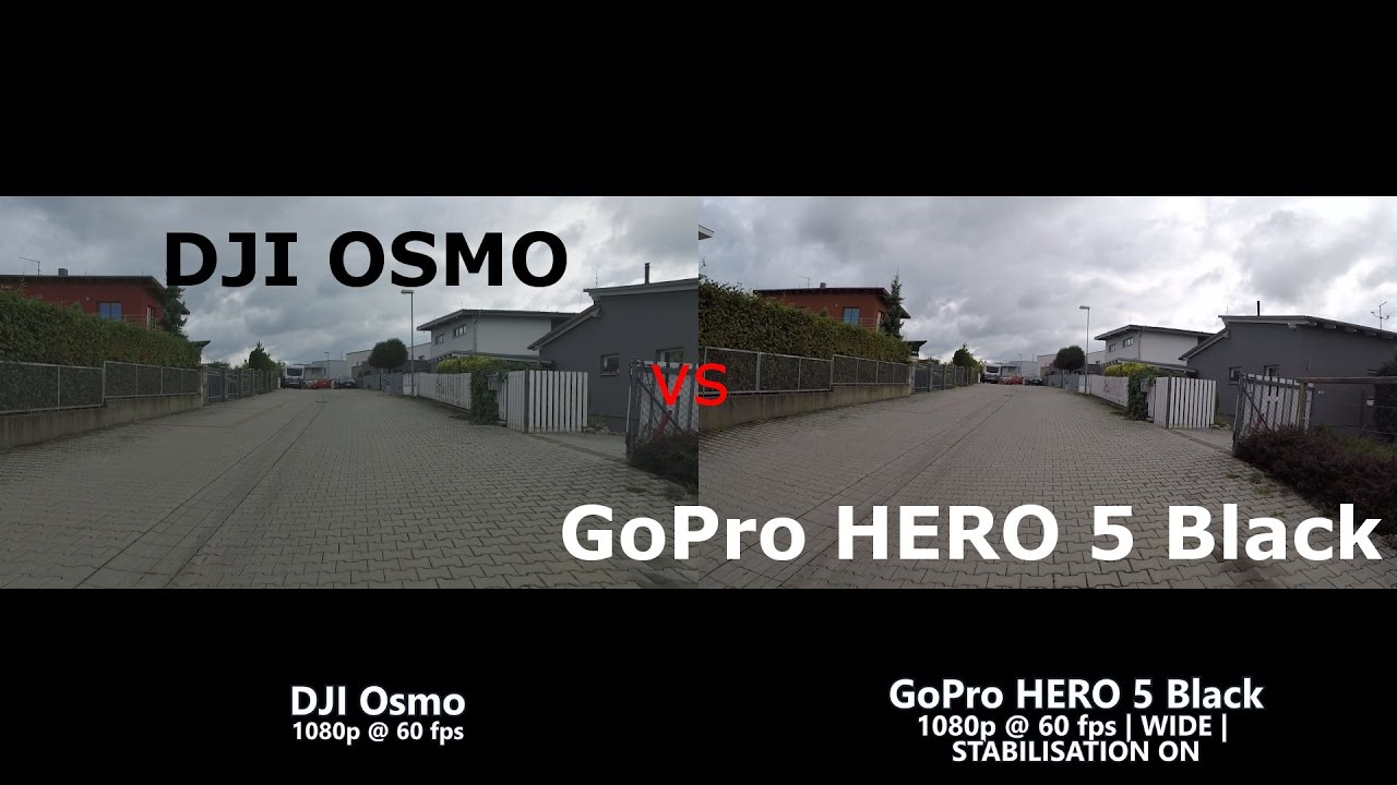 GoPro HERO 5 BLACK Versus DJI OSMO Side By Comparison Sofware Vs GIMBAL