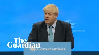 Boris Johnson delivers speech at Conservative party conference – watch live