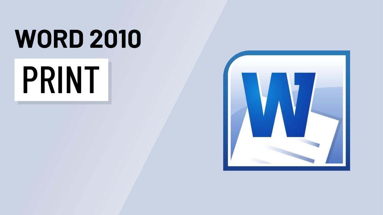 word 2010 printing youtube