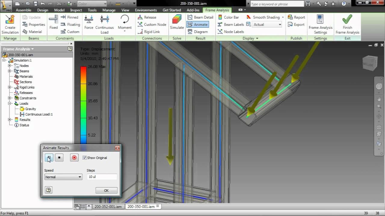 Autodesk Inventor 2011 Frame Analysis Demo Youtube