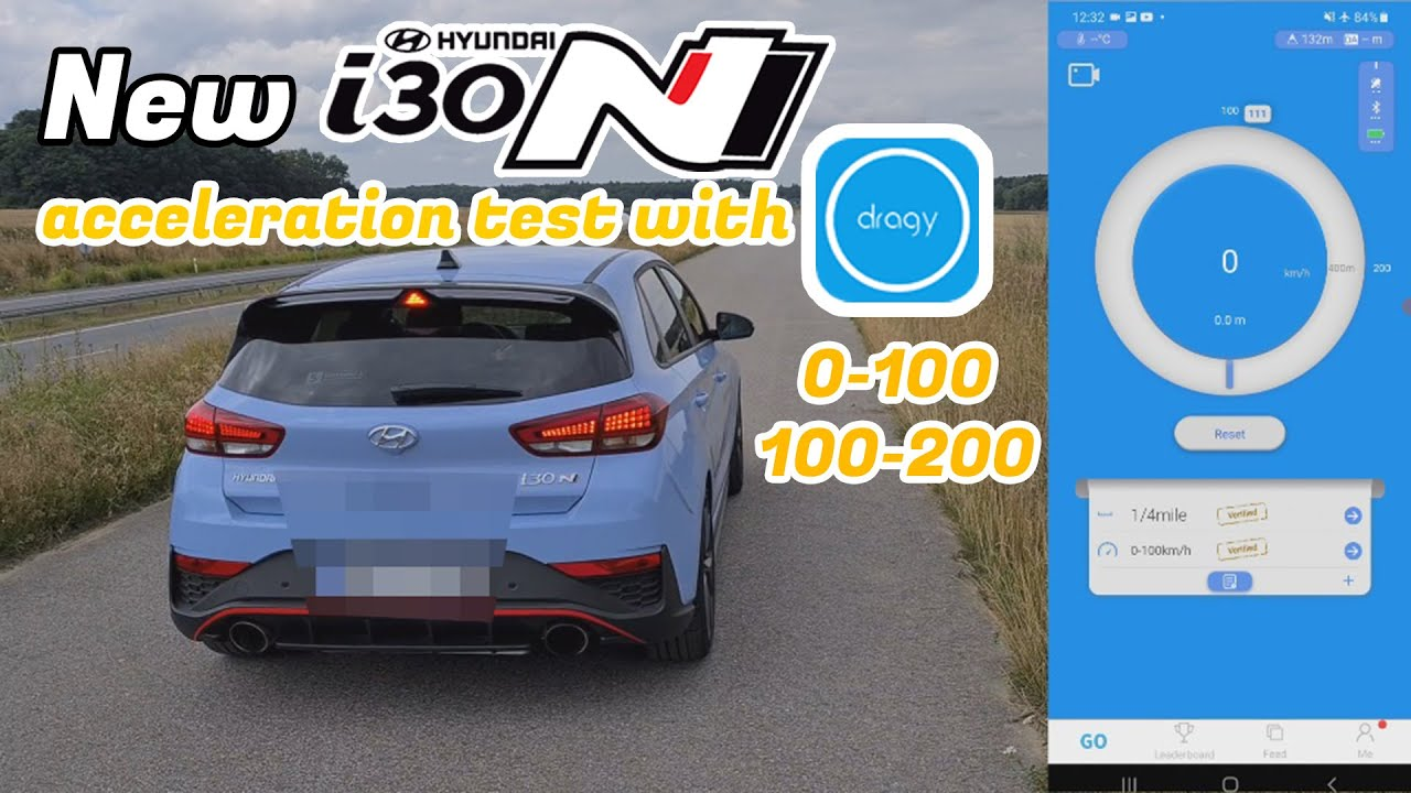 New Hyundai i30N DCT acceleration test with Dragy