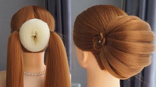 Bun Hairstyle For Lehenga Step By Step - Easy Hairstyles But Pretty | Wedding Hairstyles And Party