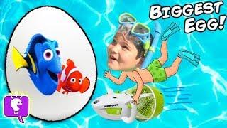 world s biggest swim surprise egg underwater seadoo finding dory disney toys family fun hobbykids