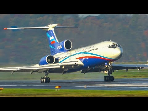 TUPOLEV TU-154 LANDING With OPEN REVERSERS Before TOUCHDOWN + TU154 DEPARTURE (4K)