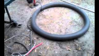 Blowing up a bicycle tire tube