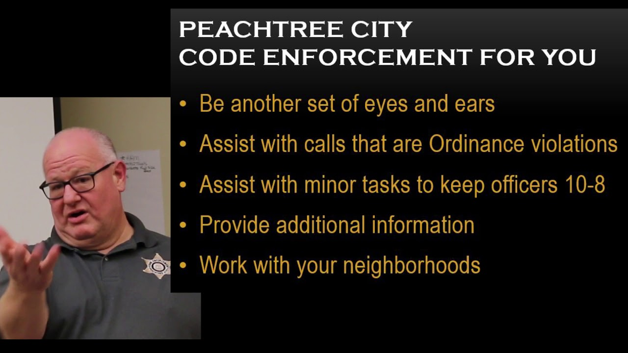 Peachtree City Code Enforcement Training For Police Department Youtube