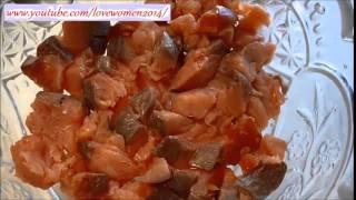 Салат из копченной красной рыбы. .Закуски к новому году