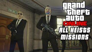 """Gta 5 online - all heist jobs/missions """"all cutscenes"""" (full walkthrough of all heist set ups)"""