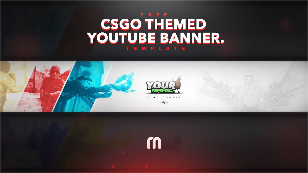 FREE CSGO YouTube Banner Template    YouTube FREE CSGO YouTube Banner Template