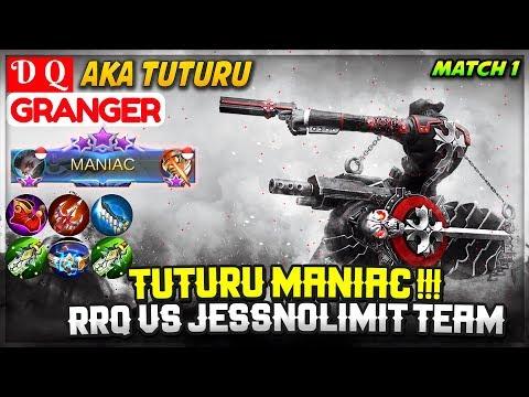 Tuturu MANIAC !!! RRQ VS JessNolimit Team, Match 1 [ Tuturu Granger ] D Q - Mobile Legends
