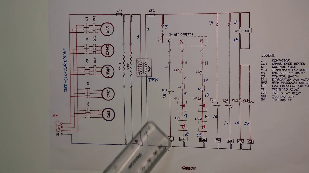 Skm packaged air conditioning units control wiring diagram in Hindi on
