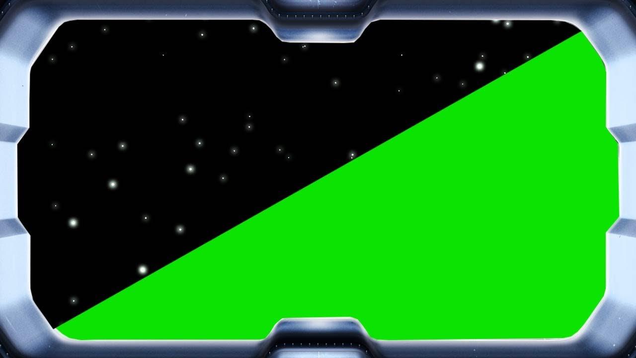 Space travel - view through spaceship window - green screen effect