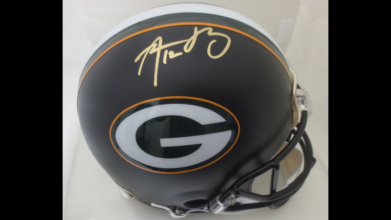 c3e3554a1 Aaron Rodgers Autographed Packers Full Size Authentic Black Football Signed  Helmet Fanatics COA