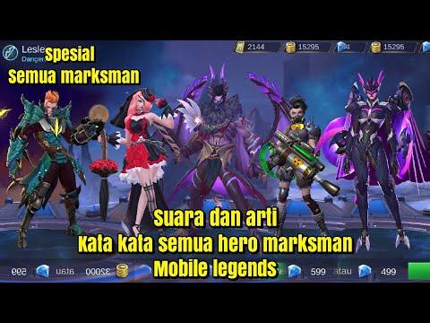 Suara Dan Arti Kata Kata Semua Hero Marksman Mobile Legends Youtube