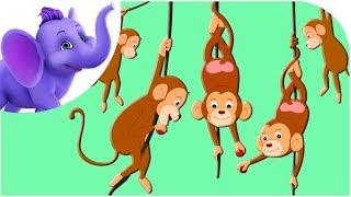 Repeat youtube video Five Little Monkeys - Nursery Rhyme & Karaoke Version