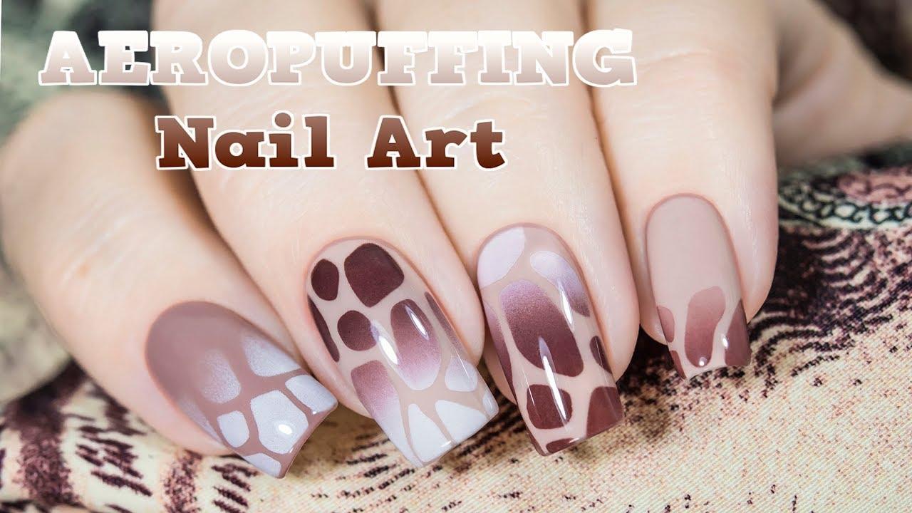 Airbrush effect nail art with aeropuffing / Аэрография без аэрографа,  легкий дизайн ногтей