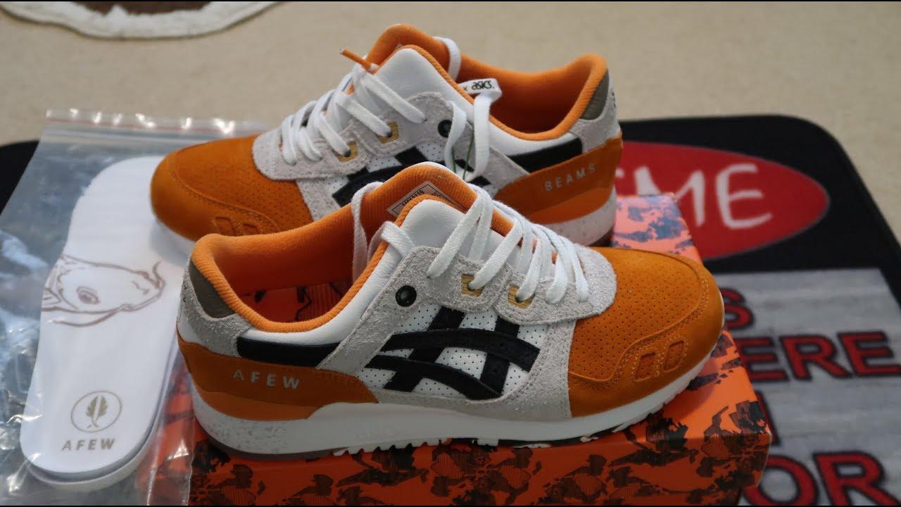 more photos c2722 ee04d Asics Gel-Lyte III Afew x Beams Orange Koi Sneaker Unboxing