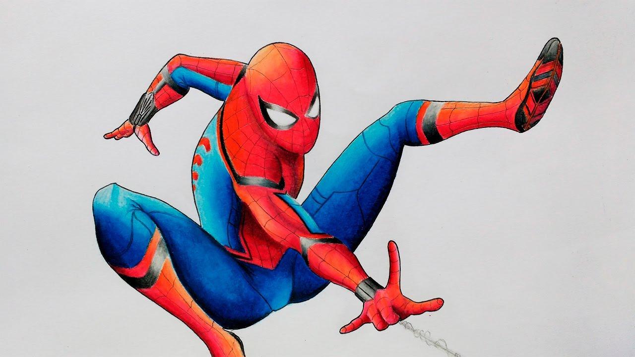 HOW TO DRAW SPIDER MAN Spider Man Homecoming Speed