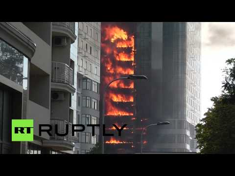RAW: Fire rages through high-rise in Odessa, 2 injured